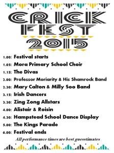Crick Fest 2015 programme