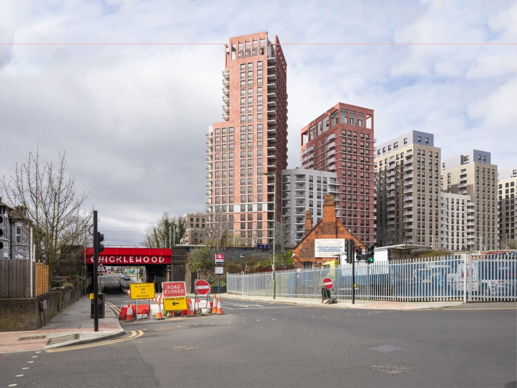 View of proposed tower blocks seen from corner of Lichfield Road near Cricklewood Station.