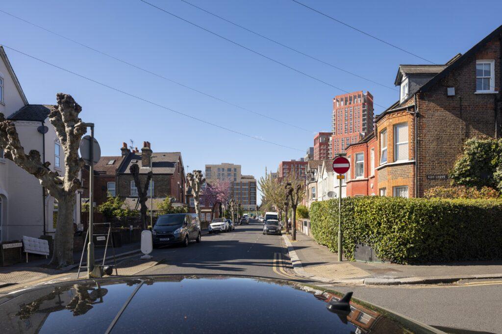 Developers' view of tower blocks seen looking along Elm Grove