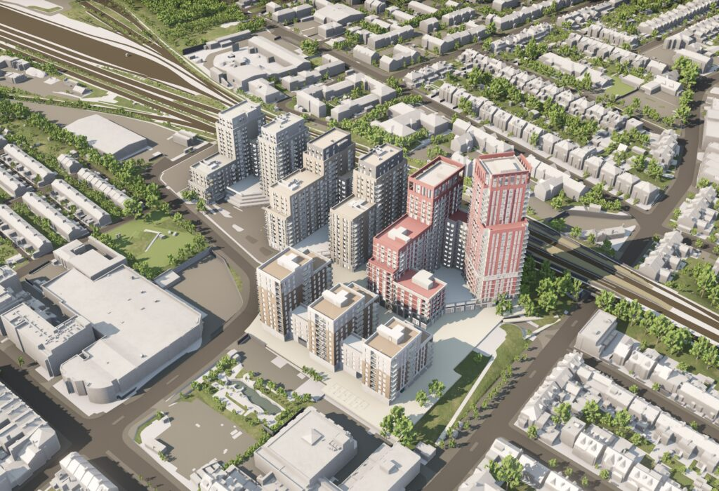 Developers' helicopter view of tower blocks, with lower houses and other bui;dings around them.