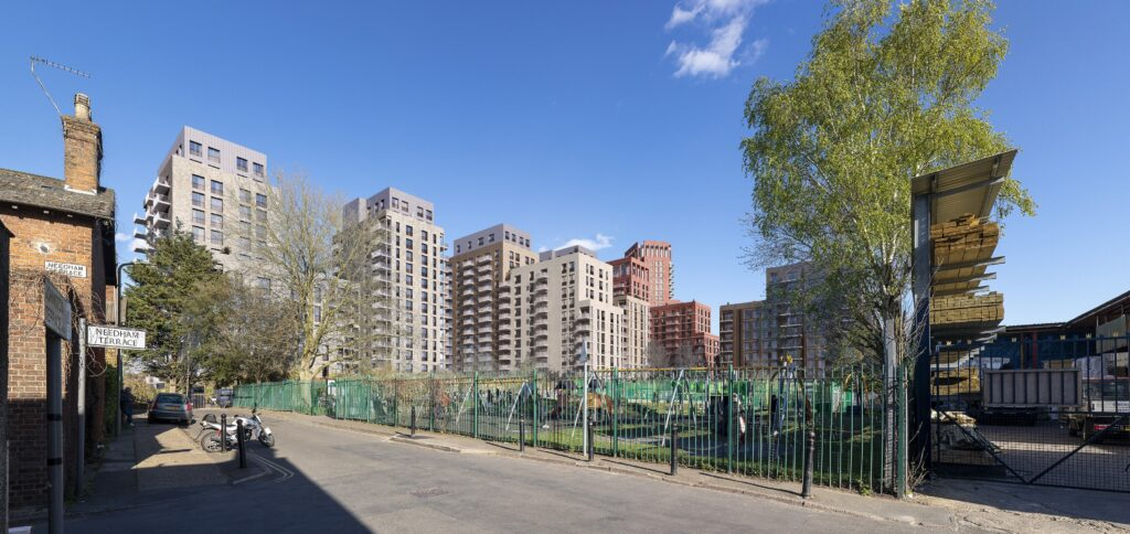 Developers' view of the tower blocks seen from Kara Way, beside the children's playground